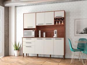 Kit de Cozinha 7 Portas Ágata Nogueira/White - Kits Paraná
