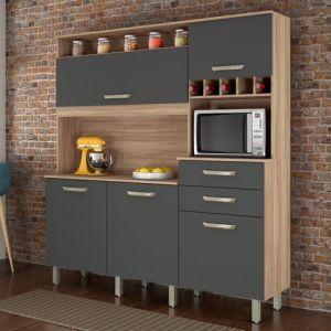 Kit de Cozinha 5 Portas Smart Freijó/Grafite- Nesher