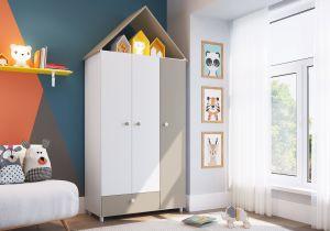 Roupeiro | Guarda-Roupa Casinha 3 Portas 1 Gavetas CH040 Branco - Art In Móveis