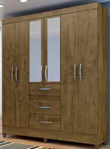 Roupeiro   Guarda-Roupa Itatiba 6 Portas c/ Espelho Castanho Wood - Moval
