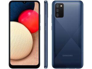"""Smartphone Galaxy A02S Azul, Tela 6.5"""", 4G+Wi-Fi, And. 10, Câm. Tras. de 13+2+2, Frontal de 5MP, 3GB RAM, 32GB - Samsung"""