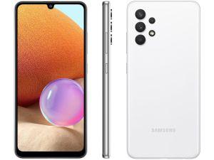 "Smartphone Galaxy A32 128GB Branco 4G - 4GB RAM Tela 6,4"" Câm. Quádrupla + Selfie 20MP-Samsung"