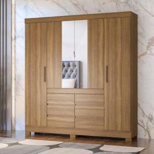 Roupeiro | Guarda-Roupa Cadis 4 portas e 6 gavetas C/ Espelho Amêndoa - Demobile