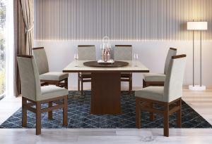Conjunto de Mesa Joli  6 cadeiras Tabaco/Creme 130x130 - Zamarchi