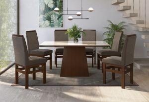 Conjunto de Mesa Joli  6 cadeiras Marrom /Creme 160x090 - Zamarchi