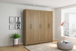 Roupeiro | Guarda-Roupa Pratico 6 portas e 3 gavetas Amêndoa - Demobile