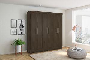 Roupeiro | Guarda-Roupa Pratico 6 portas e 3 gavetas Èbano - Demobile
