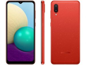 Smartphone Galaxy A02 Dual Chip Android 10 Tela 6.5 32GB Câmera 13MP + 2MP Frontal 5MP Vermelho-  Samsung