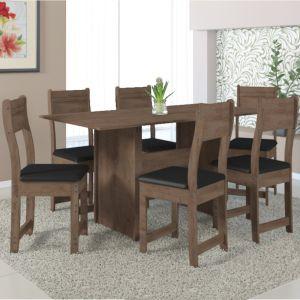 Mesa de Jantar Pérola 1,50 c/ 6 Cadeiras Noce - Indekes