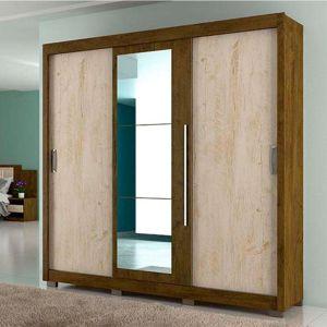 Guarda-Roupa Casal em MDP, com Espelho, 3 Portas, 3 Gavetas, 8 Pés - Montreal Plus- Castanho Wood / Avelã Wood