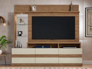 "Home Para TV Até 65"" Hórus Buriti/Off-White - Caemmun"