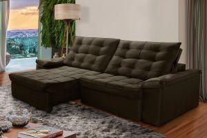 Sofá Infinity Reclinável/ Retrátil 250 cm, Veludo Marrom - Vivano