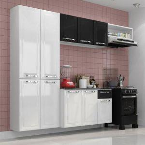Cozinha Completa em Aço 3 Peças + Balcão Amanda Branco / Preto - Itatiaia