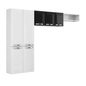 Cozinha Compacta Rose 3 peças Branco/Preto - Itatiaia
