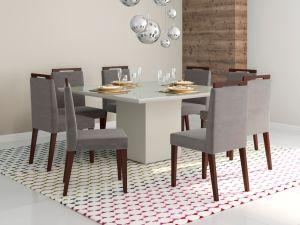 Conjunto de Mesa Adelle 136x136x80 Inteira Off White + 8 Cadeira Alana Cinza Luxor/Castanho- Mobili
