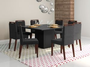 Conjunto de Mesa Adelle 136x136x80 Inteira Off White + 8 Cadeira Alana Preto Veludo/Castanho- Mobili
