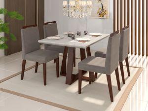 Conjunto de Mesa Noa 120X90x80 Off/ Castanho + 4 cadeiras Alana Vanilla/Castanho - Mobili