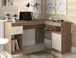 Mesa de Computador Com Porta Nilo Buriti/Off White - Caemmun