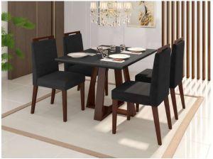 Conjunto de Mesa Noa 120X90x80 + 4 cadeiras Castanho/ Preto- Mobili