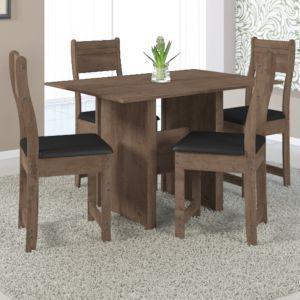 Mesa de Jantar Pérola 1,10 c/ 4 Cadeiras Noce - Indekes