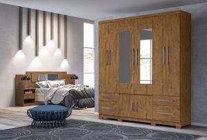 Roupeiro | Guarda-Roupa 6 portas e 4 gavetas Porto Plus Colmeia C/ Espelho Castanho Wood - Moval