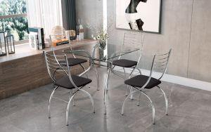 Conjunto de Mesa Nimes 4 Cadeiras Cromo Preto 80x80 - Brigatto