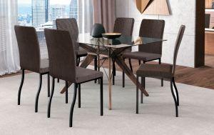 Conjunto De Mesa Lille Com 6 Cadeiras Preto/Marrom 140x100 - Brigatto