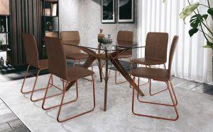 Conjunto de Mesa Briagatto Nantes Rose 6 cadeiras Marrom 140x100 MVR