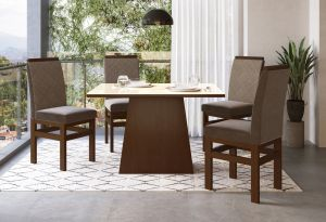 Conjunto de Mesa Joli  4 cadeiras Marrom / Tabaco 120x090 - Zamarchi