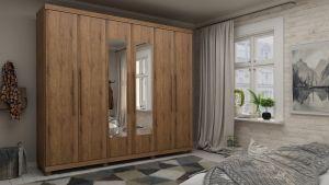 Roupeiro | Guarda-Roupa Absolut New com espelho, 6 Portas - Amadeirado - Gelius