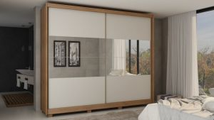 Roupeiro | Guarda-Roupa Apolo com Espelho Madeirado /Off White- Gelius