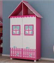 Roupeiro | Guarda-Roupa de Solteiro Casinha 2 Portas e 2 Gavetas Branco/Rosa - Gelius
