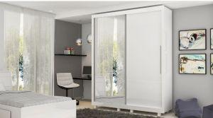 Roupeiro | Guarda-Roupa Pérola com Espelho Branco Acetinado - Gelius