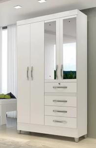 Roupeiro | Guarda-Roupa Sobral 4 Portas c/ Espelho Branco - Moval