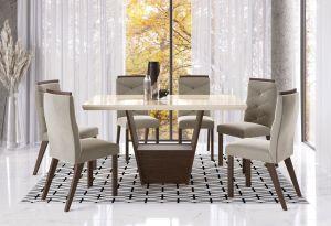 Conjunto de Mesa Joli  6 cadeiras Tabaco/Creme 160x090 - Zamarchi