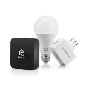 Kit Casa Conectada, Positivo Casa Inteligente (1 Smart Controle Universal + 1 Smart Lâmpada Wi-Fi + 1 Smart Plug Wi-Fi), Compatível com Alexa