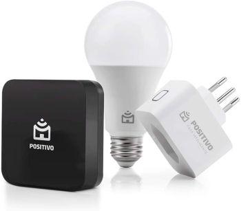 Kit Casa Conectada, Positivo Casa Inteligente - 1x Smart Lâmpada Wi-Fi; 1x Smart Plug Wi-Fi 10A; 1x Smart Controle Universal (Compatível com Alexa)