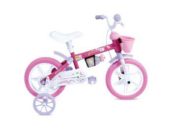 Bicicleta Infantil Houston Aro 12 Tina Mini TM12J com Rodinhas, Cestinha e Squeeze