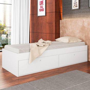 Cama de Solteiro com 4 Portas Tókio Branco - Art in Móveis