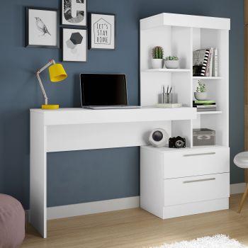 Mesa Escrivaninha Office NT 2010 Branco e Rosa - Notável