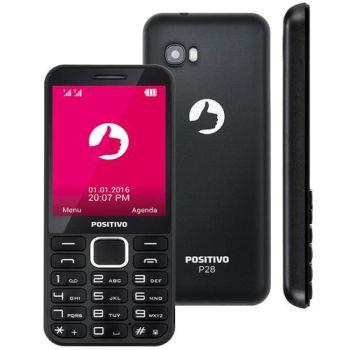 """Celular Dual Chip Tela 2.8"""" Bluetooth P28 Preto Positivo"""
