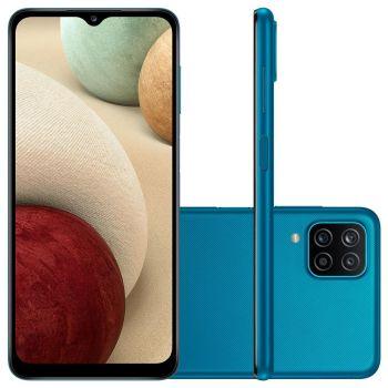 "Smartphone Galaxy A12 64GB Azul 4G - Octa-Core 4GB RAM 6,5"" Câm. Quádrupla + Selfie 8MP Samsung"